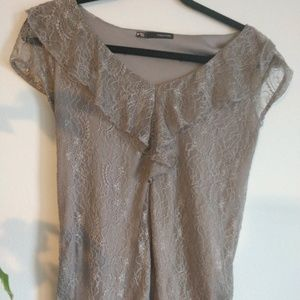 Maurice's lace tan top size M